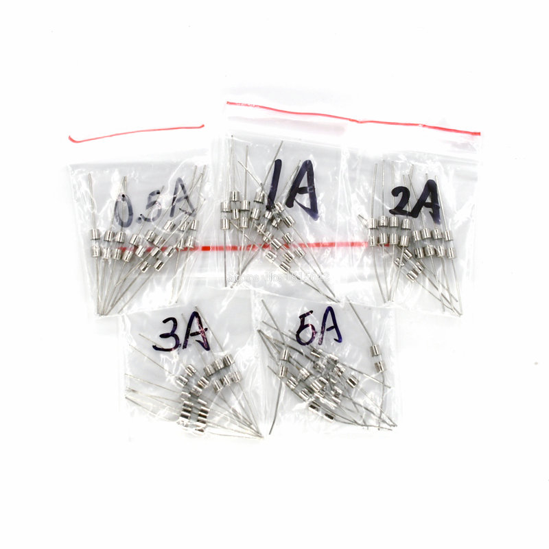 50PCS 5Values Fast Blow Glass Fuse Kit With Pin 3x10mm F0.5A F1A F2A F3A F5A 250V 0.5A-5A Assortment Set