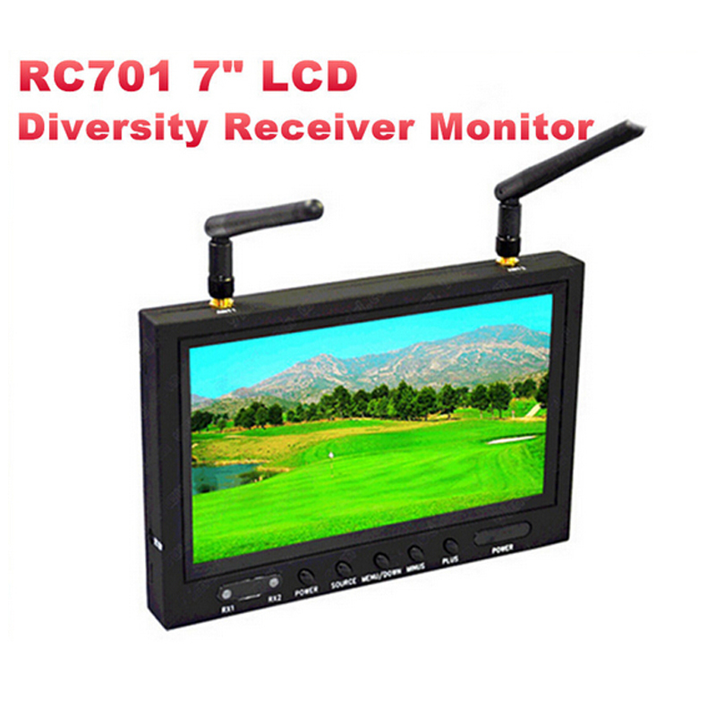 Original Boscam RC701 5.8GHz 32 Channels All-in-one Wireless FPV 7 LCD Diversity Receiver Monitor with Sunhood & Antenna boscam rx lcd5802 5 8ghz wireless fpv 7 diversity lcd screen receiver monitor black