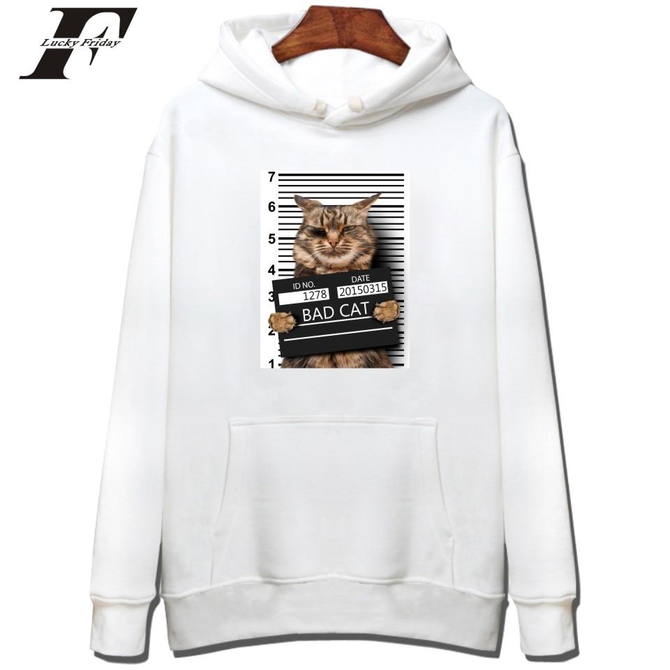 LUCKYFRIDAYF Punk Cat Sweatshirt Hoodies Spring Women Long Sleeve White KPOP Sweatshirt Men Hip Hop Funny Autumn Streetwear 2017
