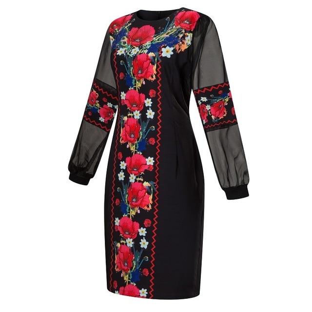 4XL 5XL Plus Size Women Dress 2019 Spring Autumn Big Size 6XL Ladies Mesh Floral Print Christmas Dress Black Midi Party Vestido 2