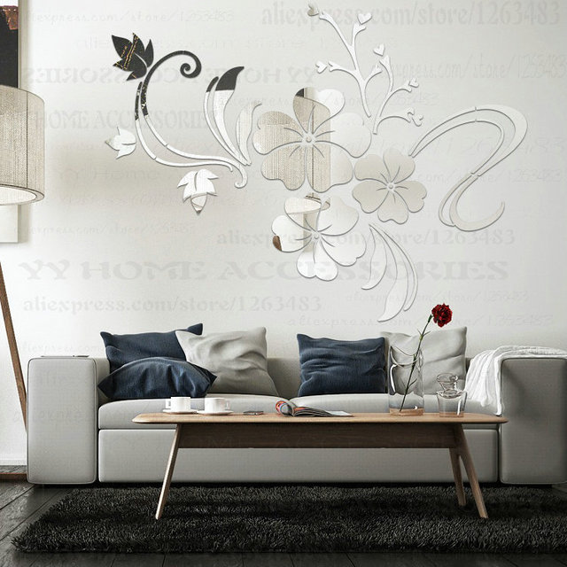 Vinyl acrylic mirror wall stickers home decor entrance for Restaurant miroir