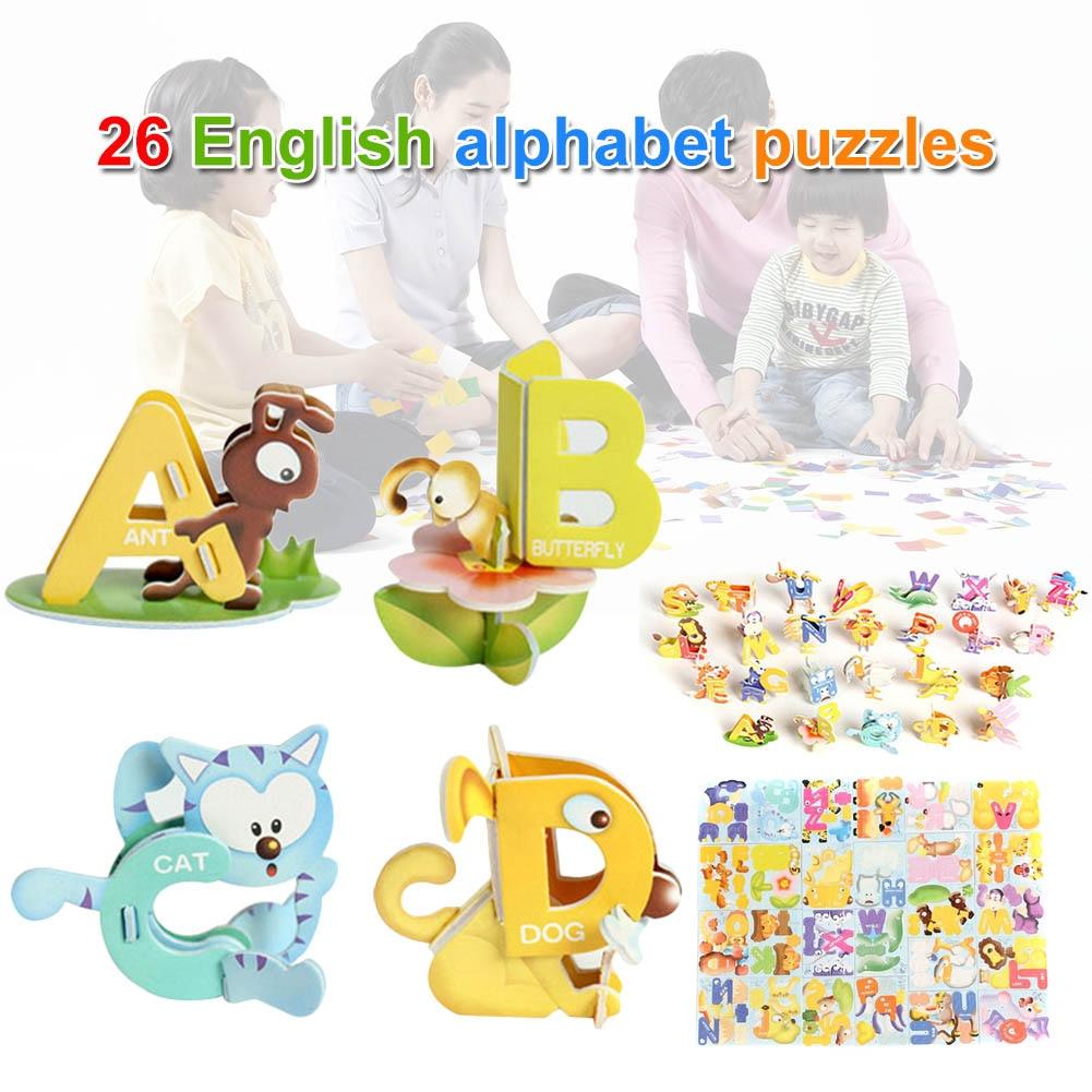 1 Set Kinder Kinder Puzzle 26 Buchstaben Tier Design 3d Pädagogisches Frühes Lernen Bm88