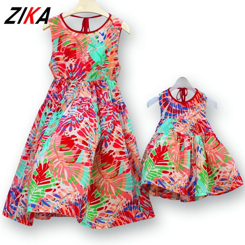 ZIKA 2017 Bohemia Mother Daughter Dress Beach Sleeveless Chiffon Summer Maxi Dresses Matching Mom and Girls Clothes C30