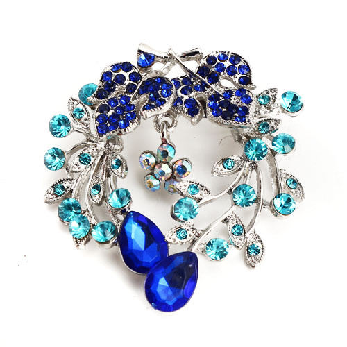 Hot Sale New Style Fashion New Blue Rhinestone Flower Female Brooch,Exquisite Brooch For Women Dress,Free Shipping
