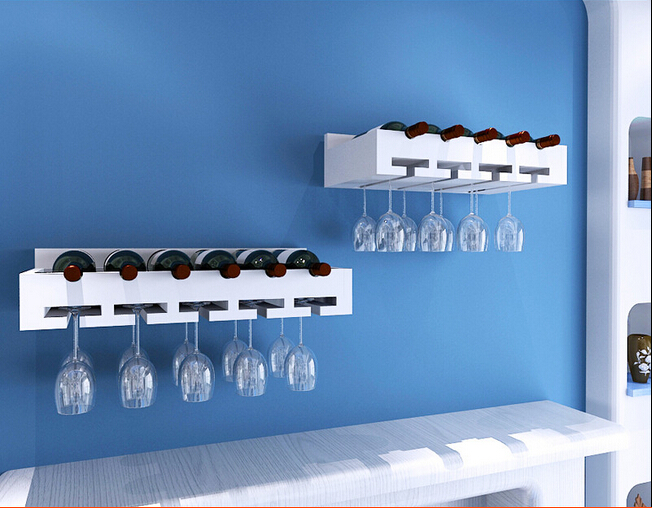 Wandregal Beleuchtet Solid Wood Wine Rack Hanging Cabinet Display Glass Wall