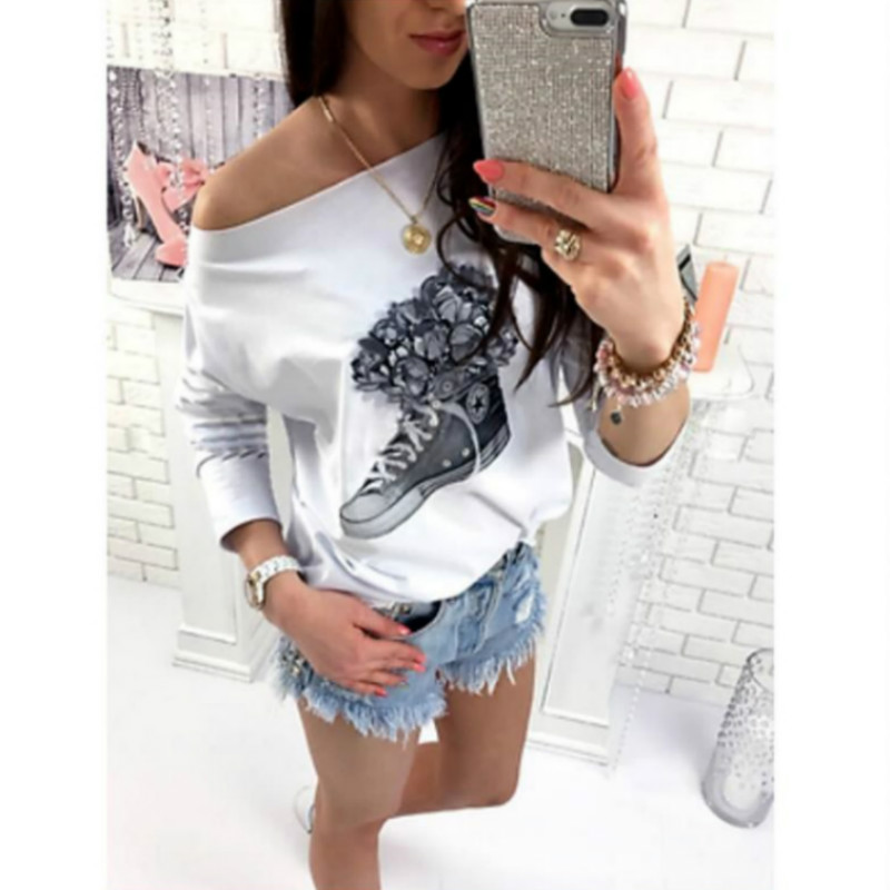 Women Loose Long Sleeve Tops Shirt 2018 Hot Design Shoes Printed Casual Cotton Off Shoulder T-Shirt Blusas Femininas