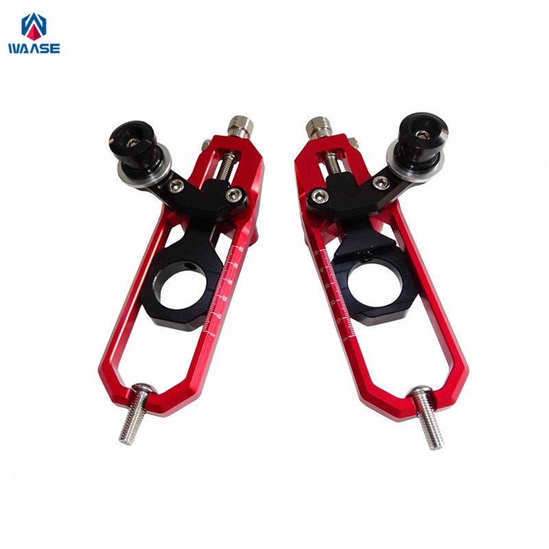 waase GSXR1000 Motorcycle CNC Aluminum Chain Adjusters with Spool Tensioners Catena For Suzuki GSXR 1000 K7 2007 2008 Red Black waase cnc aluminum exotic kickstand kick side stand for suzuki gsxr1000 gsxr gsx r 1000 k7 2007 2008