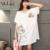 MissLymi Plus Size Mulheres T-shirt 2017 Nova Summer Fashion Impresso Gatos Rato O-pescoço Bolso Grande Solto Kawaii Curto-de Mangas Compridas T-shirt