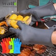 WALFOS 1 stück Hitzebeständige extra Lange Topflappen-Grill handschuh-Silikon kochtopflappen bbq-werkzeuge grill zubehör