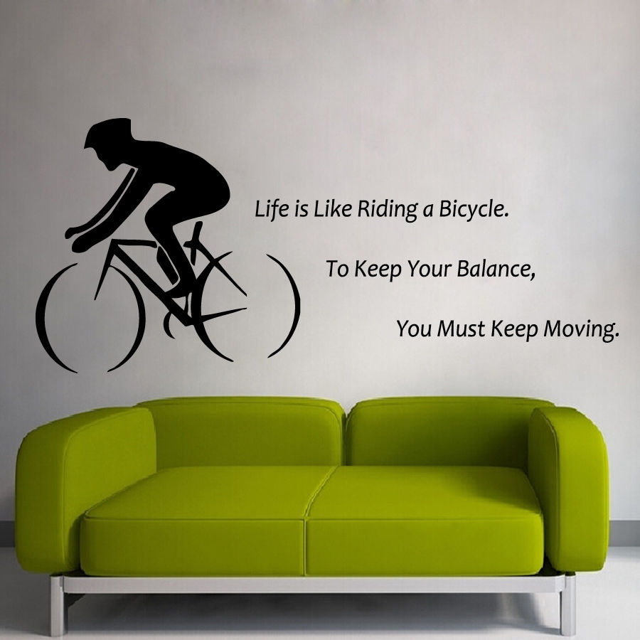 Bike wall sticker quote life is like riding a bicycle for Phrases murales