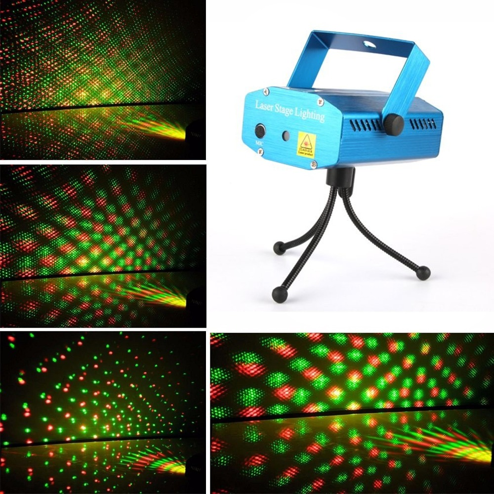 New Mini Super Projector DJ Disco Light Stage R&G Party Lighting Show Plug+Tripod