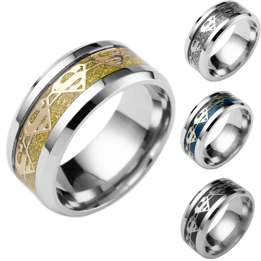 Fashion Jewelry Simple Men Ring Vintage Gold stainless steel Ring