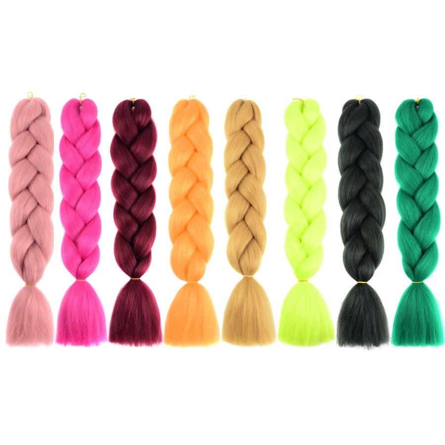 ELEGANTMUSSER Hårprodukter 24 tum Två Toner Syntetisk Kanekalon - Syntetiskt hår - Foto 2