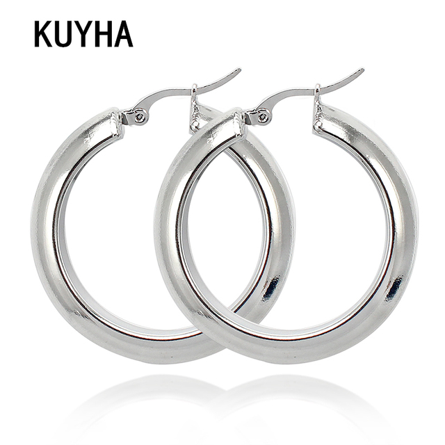 c4c021c41 Fashion Earrings Jewelry Silver Color Stainless Steel Geometric Round Best  Gift For Women Girl Wholesale