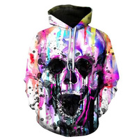 Cloudstyle 2018 3D Hoodies Sweatshirts Men Colorful Paint Skull 3D Print Pullovers Fashion Tops Popular Design