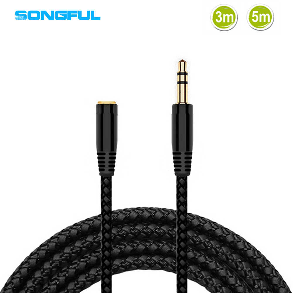 3 M/5 M 3.5 Mm Jack Ekstensi Audio Kabel Laki-laki Ke Perempuan Kabel Headphone Kabel Ekstensi Headphone Speaker AUX Kabel untuk PC