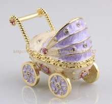 2016 New Baby Carriage Trinket Box Baby Toy Collective Gift Box Baby Carriage Jewelry Box Car Shape Pill Box Ring Holder