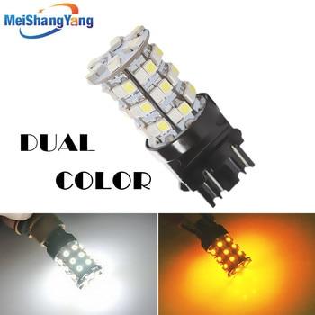 цена на 3157 switchback 60 SMD white amber rear Signal LED lamp p27 / 7 w led car brake lights bulbs car parking light source 12 V