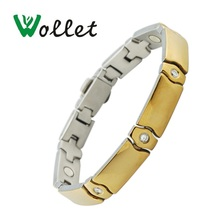 Wollet Jewelry Health Care Healing Energy 316L Stainless Steel Bio Magnet Magnetic Bracelet Bangle Gold Color for Men Women все цены