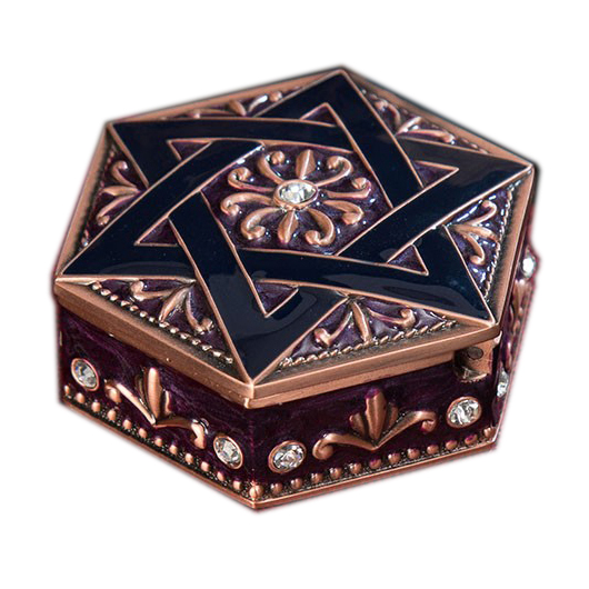 Antique Copper Purple Hand Painted and Jeweled Hexagon Shaped Star Design Alloy Treasure Jewelry Box