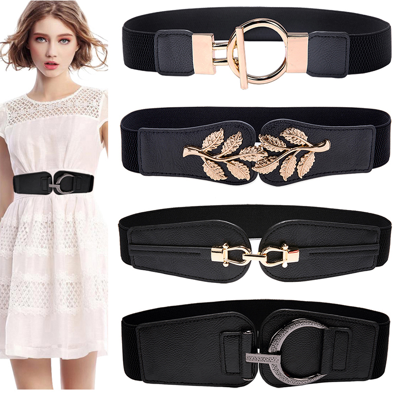 High Quality Fashion Black Cummerbunds Lady Wide Elastic Leather Belt HOT Dress Coat Cummerbund Ceinture Luxury Girdle Red Women