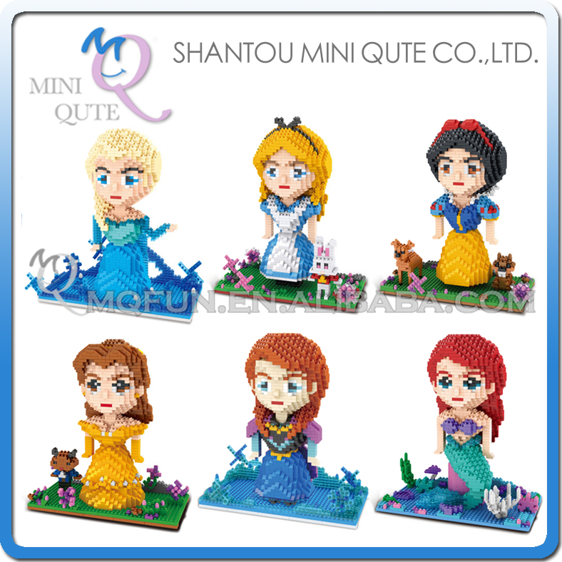 Mini Qute ZMS cartoon girls princess Cinderella snow white mermaid elsa kids building blocks action figure model educational toy стоимость