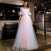 CEEWHY Ruffle Applique Evening Dress Off Shoulder Tulle Long Dress Elegant Women Party Dress abendkleider 2019 Prom Dresses