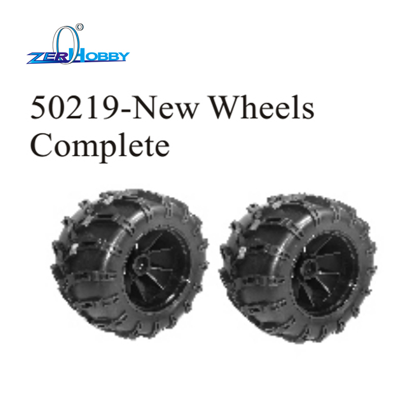 HSP Brand New 50219 New Rubber Wheels Complete Set High Speed RC Off Road Car Spare Parts Wheel For HSP 1/5 Scale Monster Truck hsp 02024 differential diff gear complete 38t for 1 10 rc model car spare parts fit buggy monster