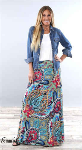 9821ceb283 US Women Boho Maxi Floral Holiday Summer High Waist Long Skirt Sundress  Plus Size S-