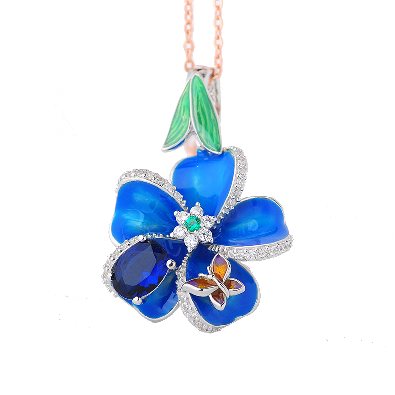 RainMarch Blue Enamel Flower Silver Pendant For Women Necklace 925 Sterling Silver Necklace Pendant Handmade Enamel Jewelry christmas bell enamel pendant necklace