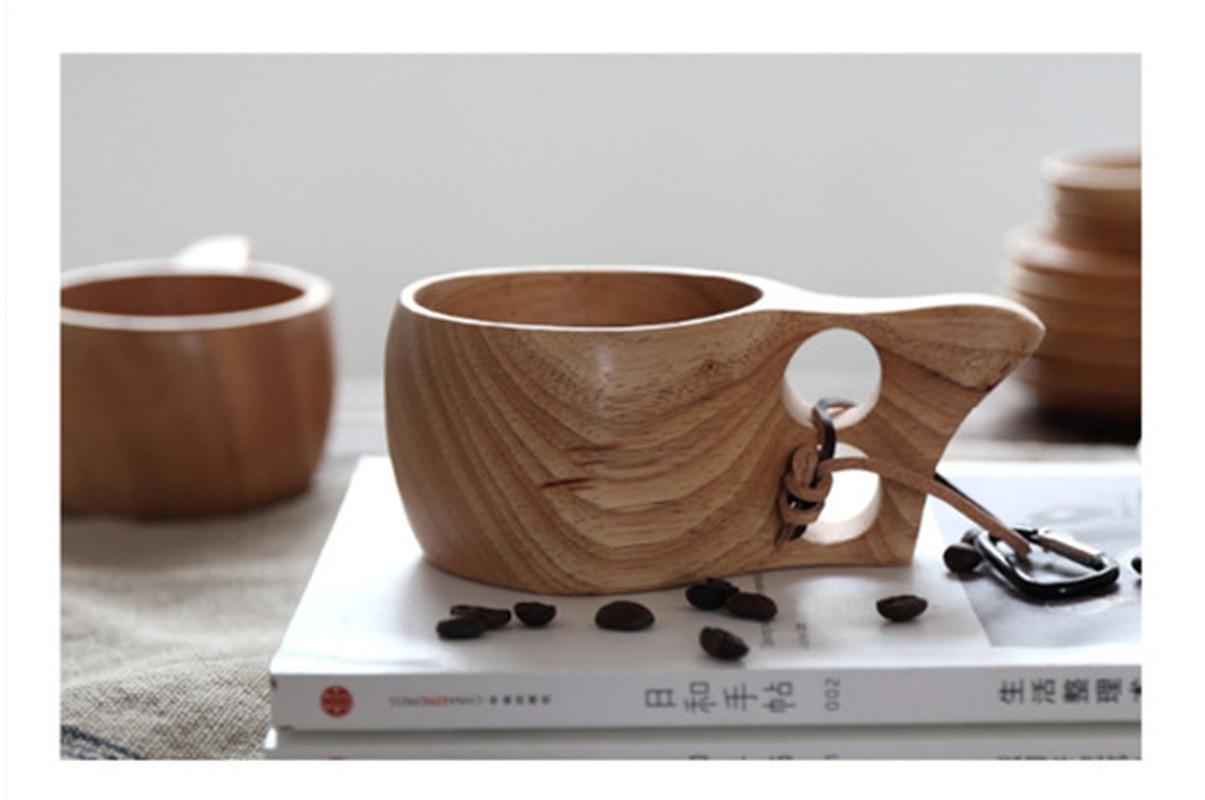 Creatieve Effen Kleur Houten Servies Dubbele Gat Rubber Hout Melk Cup Houten Koffie Cup Voor Huis Keuken Bar Benodigdheden Lange Levensduur