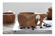 Creative Solid Color Wooden Tableware Double Hole Rubber Wood Milk Cup Coffee For Home Kitchen Bar Supplies