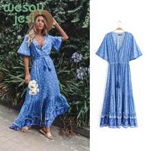Vintage vestido largo verano mujer Waist tie Ruffle Hem Boho Dresses Women Beach Long V-Neck Short Sleeve Summer Dress