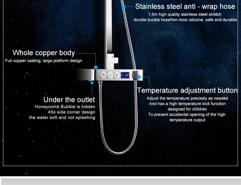 hm Installed Square shower Set Intelligent Digital Temperature Shower Brass Rain Faucet Smart Digital Display Wall Waterfall  (6)