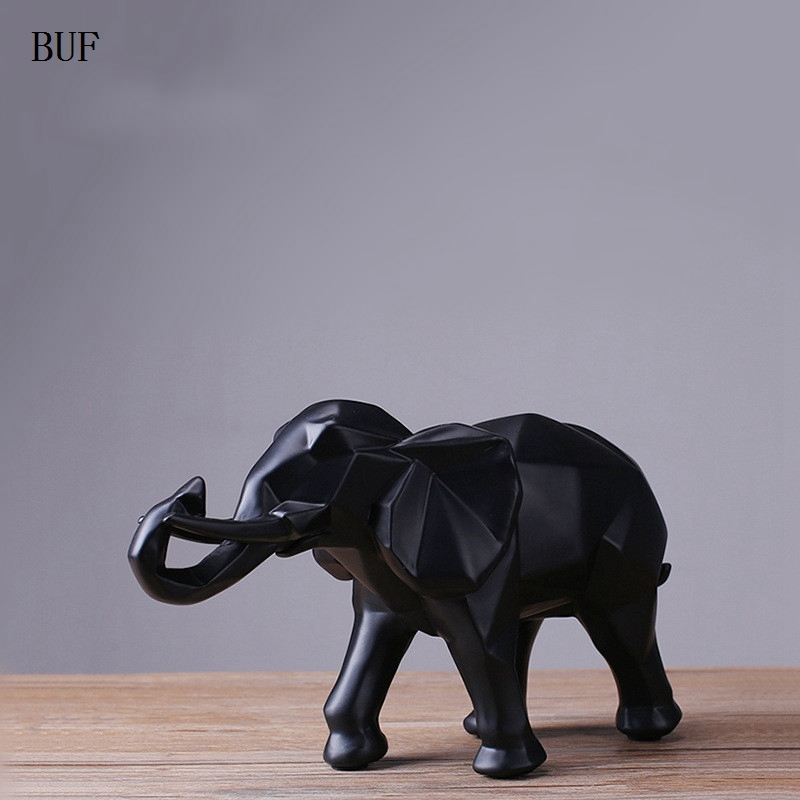 buf modern abstract black elephant statue resin ornaments home decoration accessories gift. Black Bedroom Furniture Sets. Home Design Ideas