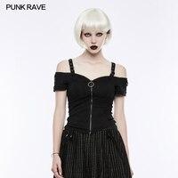 Punk Rave Fashion Casual Off the Shoulder Cotton Short Sleeve Sexy Zipper Women T shirt Tops Gothic OT506