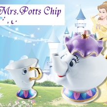 Cartoon Beauty And The Beast Teapot Mug Mrs Potts Chip Tea Pot Cup Set Porcelain Gift 18K Gold-plated Painted Enamel Ceramic