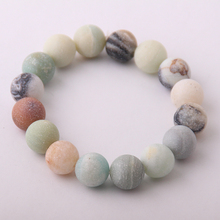 Fashion Stones Stretch bracelets 12mm Frosted Beautiful Natural Amazonite Stone Bracelet bangle(China)