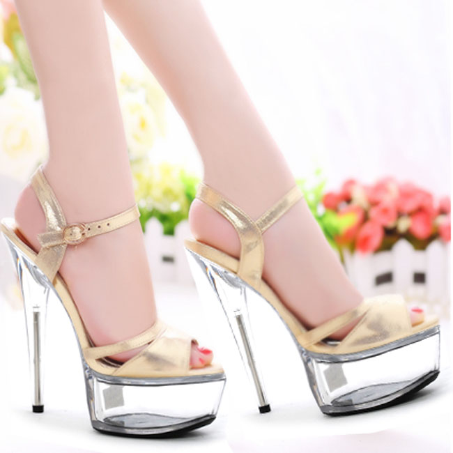 Han edition of high-grade gold flash dress shoes 15 cm high heels Europe and the United States show runway show 2017 han edition of the new fashion women s shoes big yards high heels crystal cool slippers 15cm