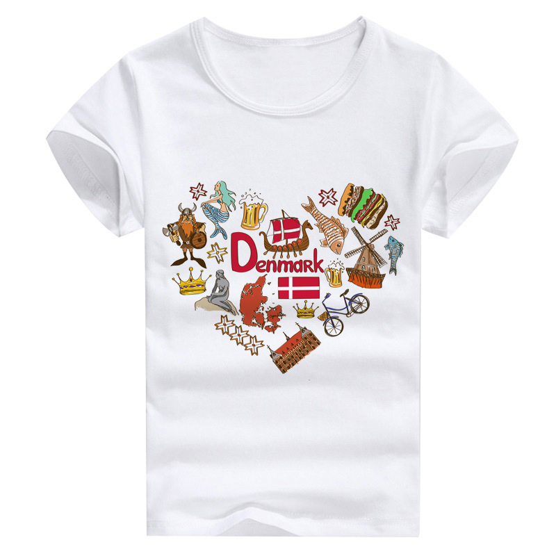 Danmark Print Countries Love Set T-shirt For Kids Summer Family Outfit Tops Wholesales