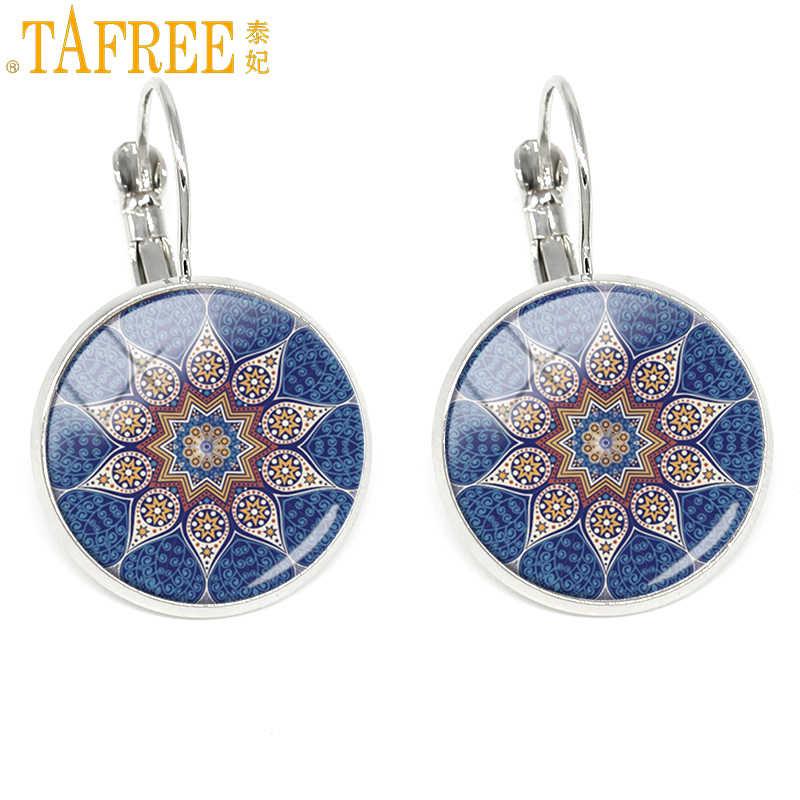 TAFREE mode boucles d'oreilles femmes indien fleur mandala rond verre dôme boucles d'oreilles 2017 Sri Yantra bijoux henné Zen H276