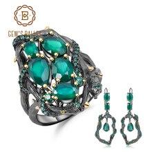 GEMS בלט טבעי ירוק אגת חן בציר תכשיטי סט 925 סטרלינג כסף בעבודת יד טבעת עגילי סטים לנשים