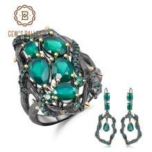 GEMS บัลเล่ต์ธรรมชาติสีเขียว Agate อัญมณี VINTAGE ชุดเครื่องประดับ 925 เงินสเตอร์ลิงทำด้วยมือแหวนต่างหูชุดสำหรับผู้หญิง