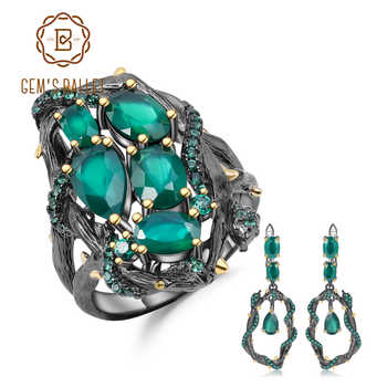 GEM'S BALLET Natural Green Agate Gemstone Vintage Jewelry Set 925 Sterling Silver Handmade Ring Earrings Sets For Women - DISCOUNT ITEM  45% OFF All Category