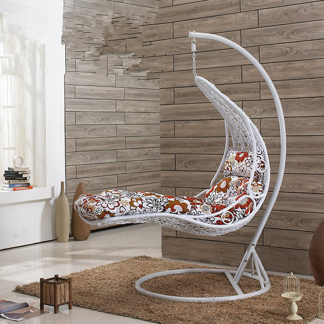 Small and simple hanging basket chair swing balcony patio for Simple suspension hanging