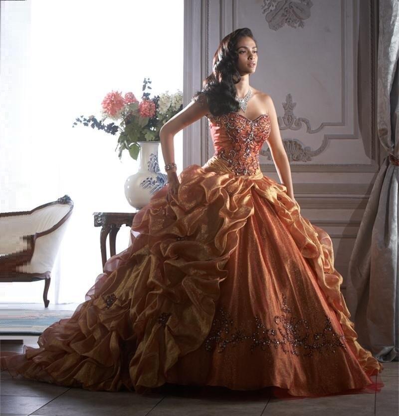 d27c68abd17 2016 Detailing Ruffles Sweep Train Gold Beaded Luxury Long Quinceanera Dress  Ball Gown Sweet Sixteen Dresses Vestidos De 15 Anos-in Quinceanera Dresses  from ...