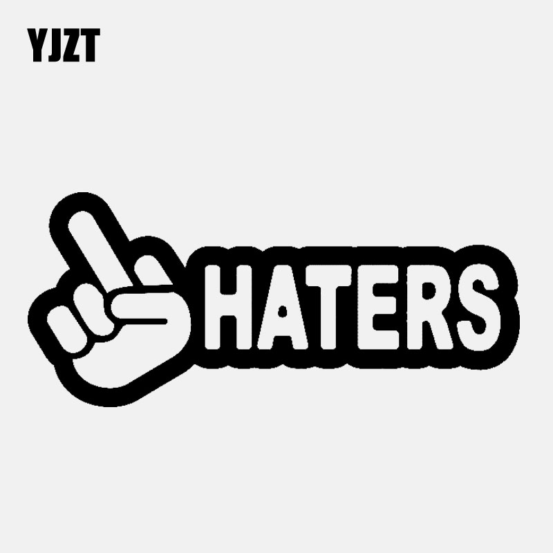YJZT 13.3CM*5.8CM HATERS Middle Finger Funny Car Sticker Vinyl Decal Diesel Black/Silver C3-1051
