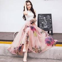 Spring and summer women floral print beach skirt big swing fairy skirt High waist temperament bohemian chiffon long skirt