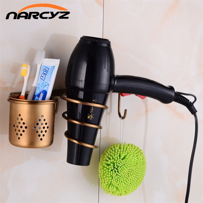 Multi-function Bathroom Hair Dryer Holder Wall Mounted Rack Antique Copper Shelf Storage Organizer Hairdryer Holder 9050K jieshalang antique copper hair dryer rack bathroom shelf hair dryer stand wall hanging holder hairdryer bathroom shelves 6835