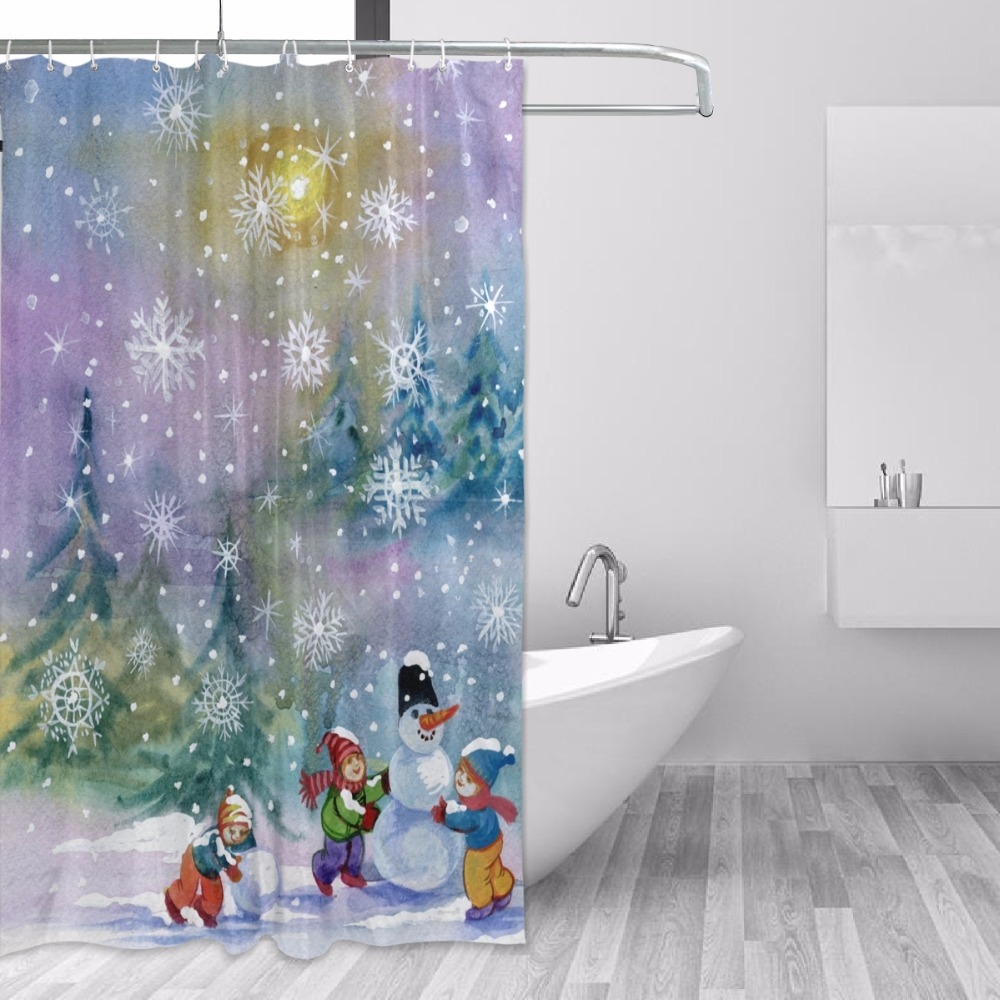 Christmas Bathroom Curtains.Us 16 65 55 Off Creative Oil Painting Christmas Bathroom Curtains Winter Scenery Household Items Shower Curtain With 12 Hooks In Shower Curtains